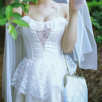 Tea Length Modern Neo Victorian Steampunk  Lace Wedding Dress with Deep Sweetheart Neckline