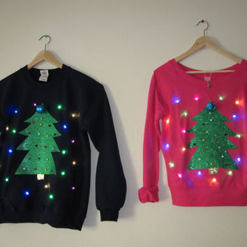 couples light up ugly christmas sweater christmas trees with led lights