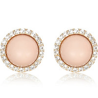 River Island Womens Light pink rhinestone surround stud earrings