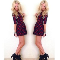 women casual dress 2015 Spring Summer fashion half sleeve red plaid dress