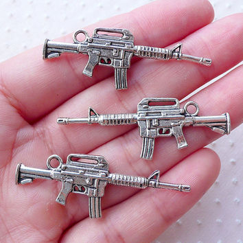 M4 Rifles Charms (3pcs / 16mm x 45mm / Tibetan Silver / 2 Sided) AK47 Assault Rifle Kalashnikov Kalash Military Firearm Weapon Gun CHM2217