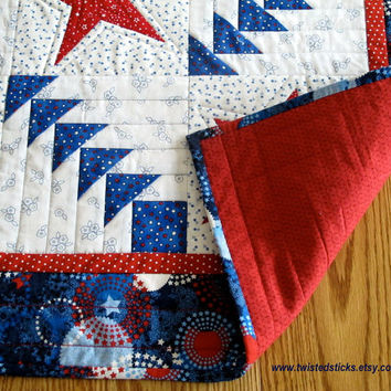 Patriotic Table Runner Quilted Table Runner by twistedsticks