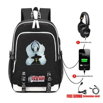 Anime Backpack School kawaii cute Fullmetal Alchemist backpack USB Charging Headphone jack Teenagers boy student Schoolbag Unisex Laptop Travelbag 16 style AT_60_4