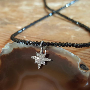 Diamond Necklace April Birthstone Necklace Beaded Necklaces Black Spinel Necklace Pave Diamond North Star Compass Rose Beaded Womens Gift