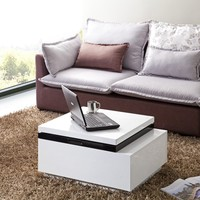 Nikka Black/White Lacquer Lift-Top Coffee Table