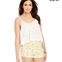 Aeropostale Womens Double Ruffle Pineapple High-Waisted Shorts - Beige,
