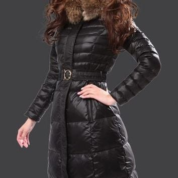 Moncler Fur Hooded Long Down Coat Womens Luxury Outerwear 8815 Black