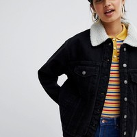 Bershka Fleece Collar denim jacket at asos.com