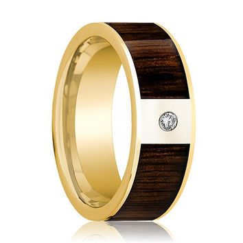 Mens Wedding Band Polished 14k Yellow Gold & Black Walnut Inlay with Diamond - 8mm