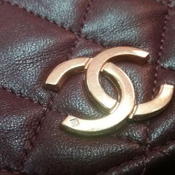 Chanel Dark Red Leather Vintage Used Bag Purse - Beauty Ticks