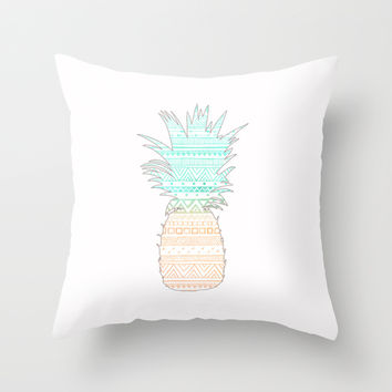 Tribal Pineapple Throw Pillow by Sunkissed Laughter