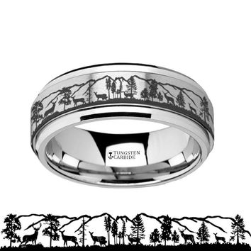 Animal Landscape Scene - Roaming Deer Stag - Spinning Tungsten Ring - Spinner Laser Engraved  - Tungsten Carbide Wedding Band - 8mm