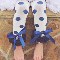 Blue & White Polka Dot Leg Warmers