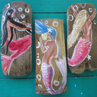 Set of three hand painted mermaid ornaments Mermaid Fantasy Art