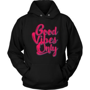 Good Vibes Hoodie - Positive Statement Hooded Sweatshirt - Plus Size Up To 5X