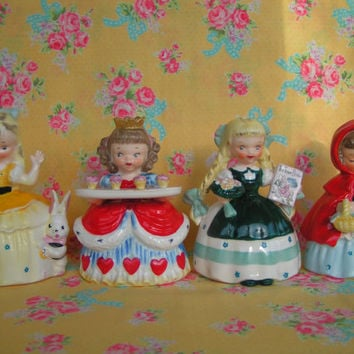 Vintage Napco Storybook Queen of Hearts, Alice in Wonderland, Little Red Riding Hood and Goldilocks Figures/Planter