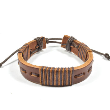 Dark Brown and Light Brown Leather Bracelet