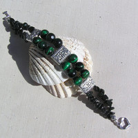 "Gemstone Crystal Bracelet - Green Tiger Eye & Green Goldstone - ""Rosseau"""