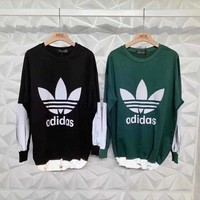 """Adidas"" Unisex Casual All-match Cool Fashion Letter Logo Laser Long Sleeve Sweater Tops"