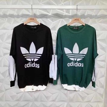 """""""Adidas"""" Unisex Casual All-match Cool Fashion Letter Logo Laser Long Sleeve Sweater Tops"""
