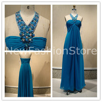 A Line Sleeveless Beading Floor Length Prom Evening Dress
