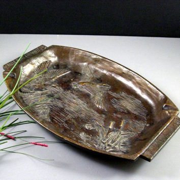 LARGE Solid Bronze Tray Ashtray // Organic Prairie Style  // dated 1959 // from Successionary