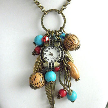 Boho gypsy necklace Gypsy jewelry Native American inspired watch necklace Tribal jewelry Bohemian necklace