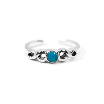 Sterling Silver Round Turquoise Infinity Toe Ring