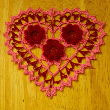 Pink Heart - Red Roses - Jewelry Pendant - Fiber Art - 3D Irish Thread Crochet Roses - Lace Doily - Decoration