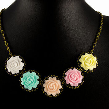 Romantic Polymer Clay Rose Statement Necklace. Pastel Bib Necklace. Flower Necklace. Antique Brass. Handmade Jewelry Flower Jewelry