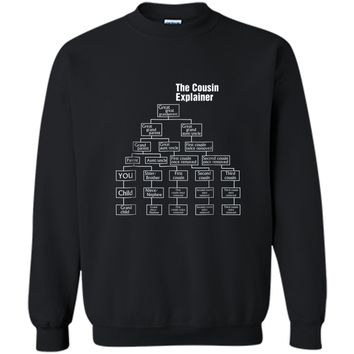 Mens The Cousin Explainer - Family Tree Gift  Idea Printed Crewneck Pullover Sweatshirt