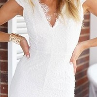 White Scallop Lace Cap Sleeve V Neck Cut Out Back Bodycon Mini Dress