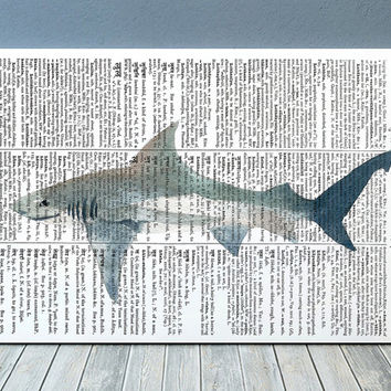 Shark poster Beach house print Marine print Watercolor decor RTA2005