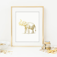 Elephant Faux Gold Foil Art Print - Gilded Office Decor - Girly Minimalist Art - Imitation Gold Leaf - Home Office Wall Art - SKU: 200
