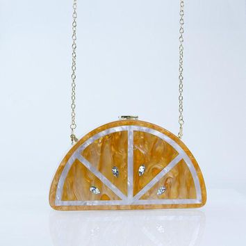Milanblocks Half Round Lemon Chic Acrylic Box Clutch