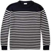 Saint Laurent Striped Cotton and Wool-Blend Sweater | MR PORTER