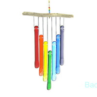 Rainbow Wind Chime with Driftwood, Glass Rainbow Windchime