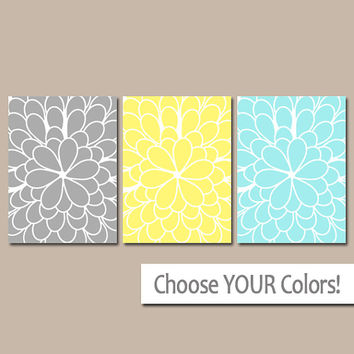 Gray Yellow Aqua WALL Art, CANVAS or Prints, BATHROOM Pictures, Bedroom Artwork, Zoom Large Flower Set of 3 Floral Home Decor Choose Colors