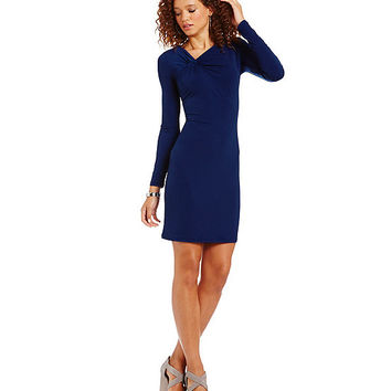 MICHAEL Michael Kors Asymmetric Twist Neck Matte Jersey Sheath Dress | Dillards