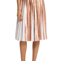 Foil Pleated Skirt in Rose Gold: Buy Raoul at CoutureCandy.com