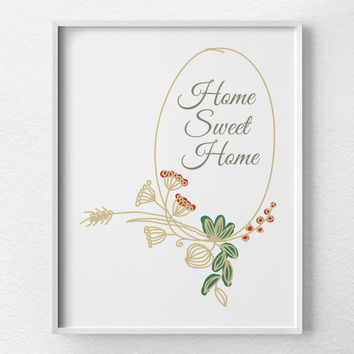 Home Sweet Home Print, Housewarming Gift, Home Decor, Typographic Print, Home Sweet Home Art, First Home Gift, Family Room Art