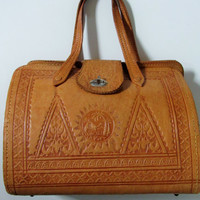 Vintage Leather Tooled Handbag