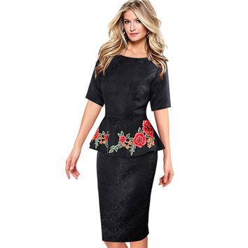 Dresses Elegant Vintage Vestidos Fabric Peplum Casual Party Mother of Bride Evening Bodycon