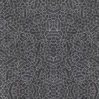 Faux silver and black swirls doodles Fabric Fabric
