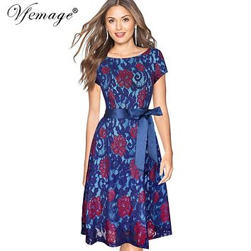 Vfemage Womens Elegant Floral Lace Contrast Belted Bow Tunic Vintage Party Bridesmaid Mother of Bride Swing Skater Dress 7343