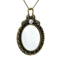 Victorian Steam Punk Gothic Mirror Necklace