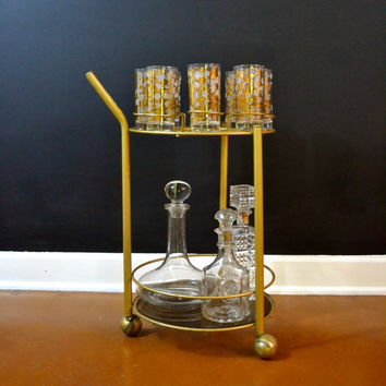 Vintage Gold Bar Cart, Round Bar Cart with Gold Glasses and Smoked Bottom Shelf, Hollywood Regency, Rolling Bar Cartt