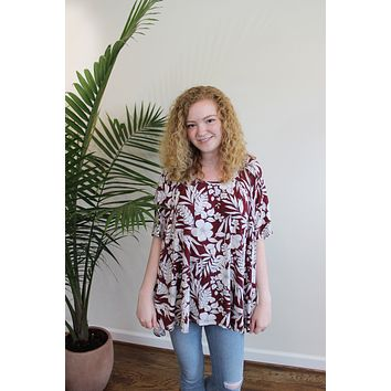 Tropical Print Babydoll Tunic