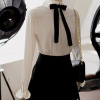 Day full silk shirt with ascot bow tie