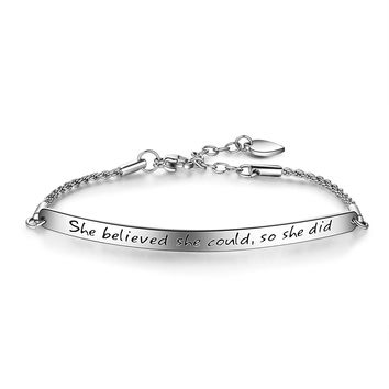 "Engraved Message ""She believed she could so she did"" Inspirational Bar Bracelet, Women Jewelry, Graduation Gifts"